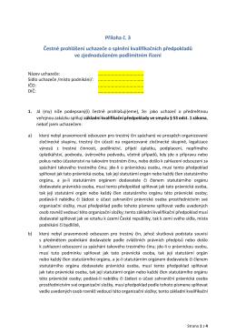 Příloha č. 3 Čestné prohlášení uchazeče o splnění kvalifikačních