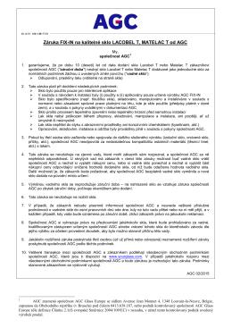 Záruční podmínky - AGC e