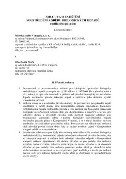 Smlouva o zajištění soustředění a sběru biologických