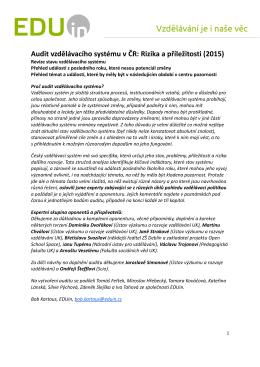 Audit vzdělávacího systému v ČR: Rizika a příležitosti (2015)