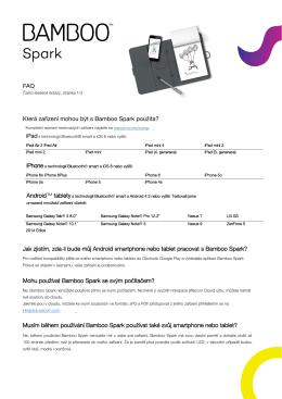 FAQ Která zařízení mohou být s Bamboo Spark