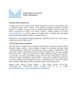 Forenzní značení jízdních kol V období od 24.8.2015 si mohou