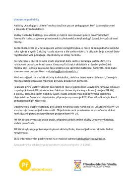 """Všeobecné podmínky Nabídky """"Katalog pro učitele"""" mohou využívat"""