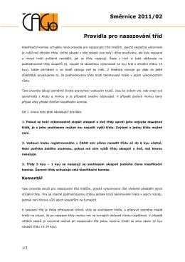 Směrnice 2011/2 – Pravidla pro nasazování tříd