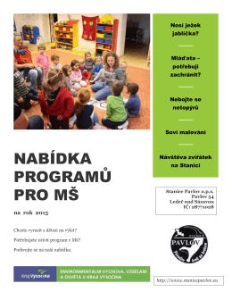Nabídka pro mateřské školy k vytištění, formát PDF
