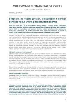 Bezpečně na všech cestách. Volkswagen Financial Services nabízí