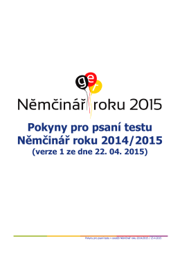 Pokyny pro psaní testu Němčinář roku 2014/2015