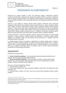 Příloha č. 1 - Požadavky na partnerství