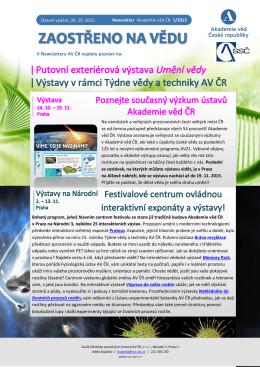 V Newsletteru AV ČR najdete pozvání na: