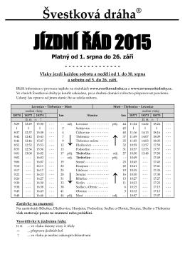 JÍZDNÍ ŘÁD 2015 - Švestková dráha