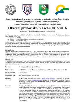 Okresní šachový svaz Brno-venkov ve spolupráci s TJ Sokol Zastávka