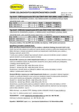 Ceník - bezpečnostní kovové dveře 2015