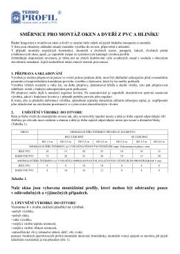 směrnice pro montáž oken a dveří z pvc a hliníku