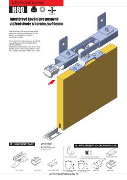 Interiérové kování pro posuvné vložené dveře s horním zavěšením
