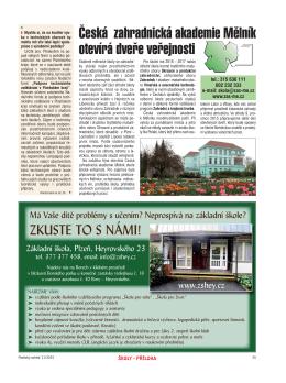 Česká zahradnická akademie Mělník otevírá dveře veřejnosti