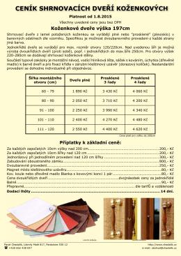Ceník shrnovacích dveří koženkových ke stažení