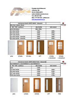 Interierové dveře VERTE BASIC - lakované Bílá, Buk, Jabloň, Ořech