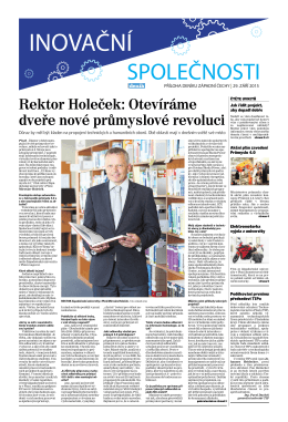 Rektor Holeček: Otevíráme dveře nové průmyslové revoluci