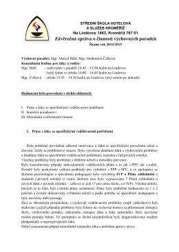 Závěrečná zpráva VP za školní rok 2014/15