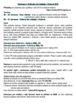 Informace o Světovém dni mládeže v Krakově 2016 Přihlášky pro