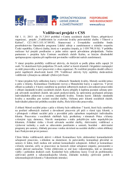 Ukončení projektu  - Centrum sociálních služeb Tišnov