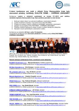 V rámci konference pro malé a střední firmy Olomouckého kraje byly
