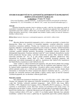 studium barevných vlastností kasiteritových pigmentů dopovaných
