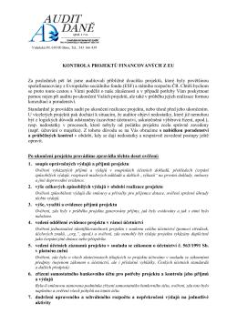 Kontrola projektů financovaných z EU - AUDIT