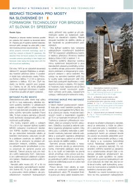 bednicí technika pro mosty na slovenské d1 formwork