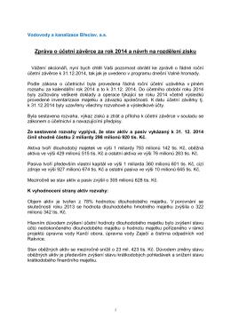 Zpráva představenstva o účetní závěrce za rok 2014 (143 kB, PDF)