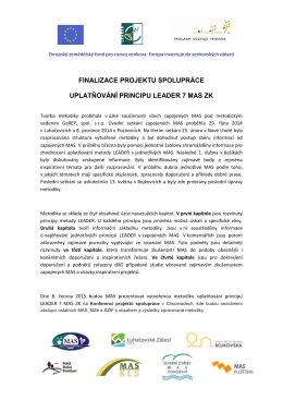 finalizace projektu spolupráce uplatňování principu leader 7 mas zk
