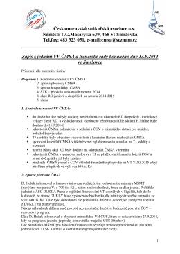 Zápis z jednání VV ČMSA 13.9.2014