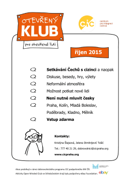 říjen 2015 Setkávání Čechů s cizinci