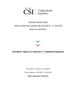 Výsledky testování školy Výběrové zjišťování výsledků žáků 2014