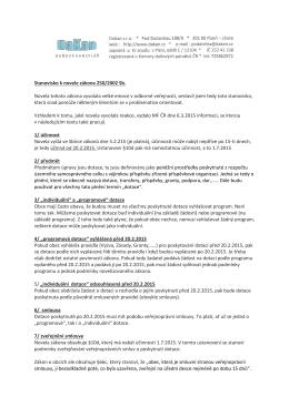 Stanovisko k novele zákona 250/2000 Sb
