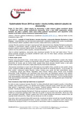Tisková zpráva k 3. ročníku konference Vyšehradské