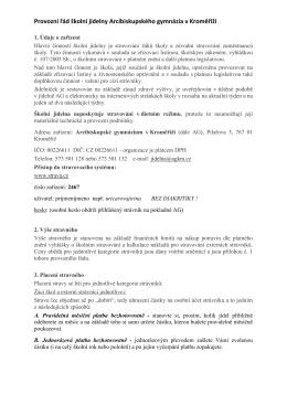 Provozní (stravovací) řád - Arcibiskupské gymnázium v Kroměříži