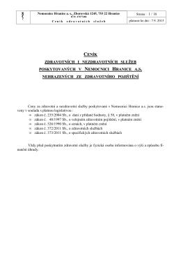CENÍKY služeb nemocnice - 2015 - 7.9.