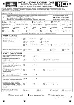 Hospitalizovaní pacienti 2015 - 2014-12-12