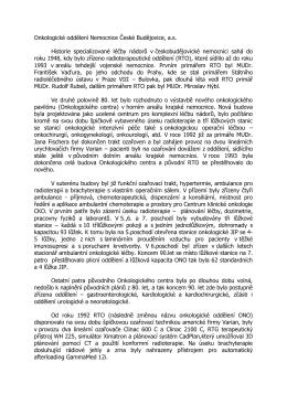 Onkologické oddělení Nemocnice České Budějovice, a.s. Historie