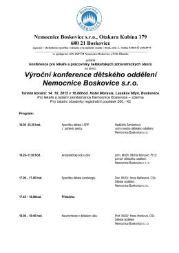 Výroční konference dětského oddělení Nemocnice Boskovice s.r.o.