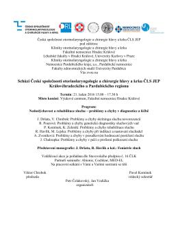 ORL oddělení, Nemocnice Pardubice si Vás dovoluje pozvat na