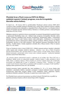 Plzeňský kraj a Plzeň vezou na EXPO do Milána