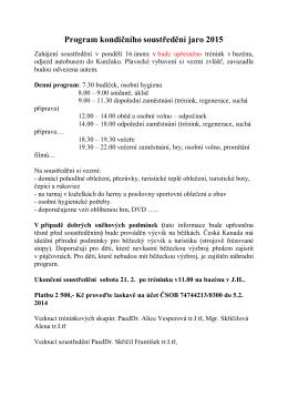 Program kondičního soustředění jaro 2015