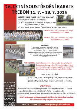 26. Letní soustředění karate v Třeboni - Karate-P