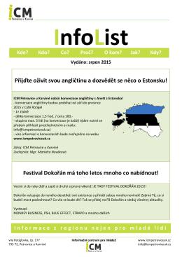 InfoList srpen 2015 - ICM Petrovice u Karviné