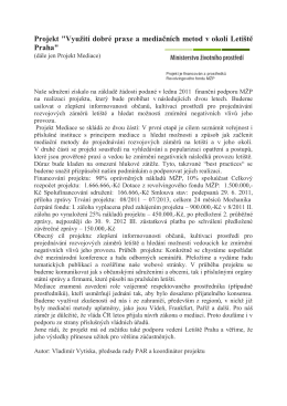 """Projekt """"Využití dobré praxe a mediačních metod v okolí Letiště Praha"""""""