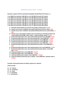 Závěrečná práce Excel – 6.třída