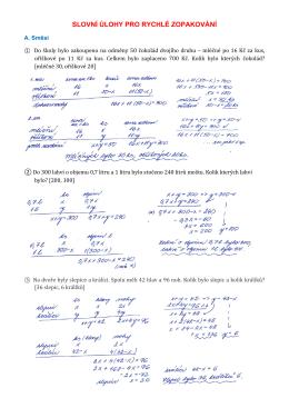 0 Slovní úlohy na směsi, roztoky, práci, pohyb pro rychlé - Gkvr-ms2