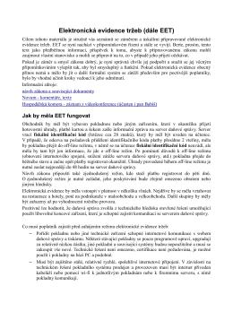 Elektronická evidence tržeb (dále EET)